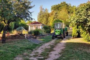 Sonnenhof Garten mit Traktor und Traubenwagen